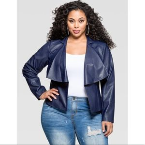 Ashley Stewart vegan leather blue blazer